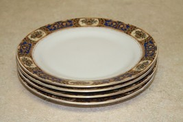 Set of 4 Victoria China Czechoslovakia Gold Trim 7.5 Salad/Bread Plates - $21.71