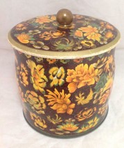 """Vintage Oriental Style Flower Tin Canister, Made In England, Daher, 6"""" x... - $18.80"""