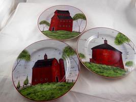 "Barns Warren Kimble Sakura Set of 3 Salad Plates 1998 Farmhouse Style 8"" - $13.85"