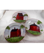 "Barns Warren Kimble Sakura Set of 3 Salad Plates 1998 Farmhouse Style 8"" - $13.85"