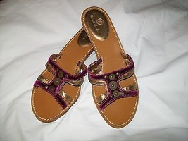 Women's COLE HAAN Leather Velour Slides Sandals Size 7.5 Medium - $12.99