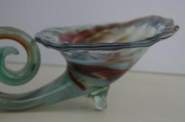 "Art glass Swirled Swirly Smoky Cornucopia 9"" long - $59.98"