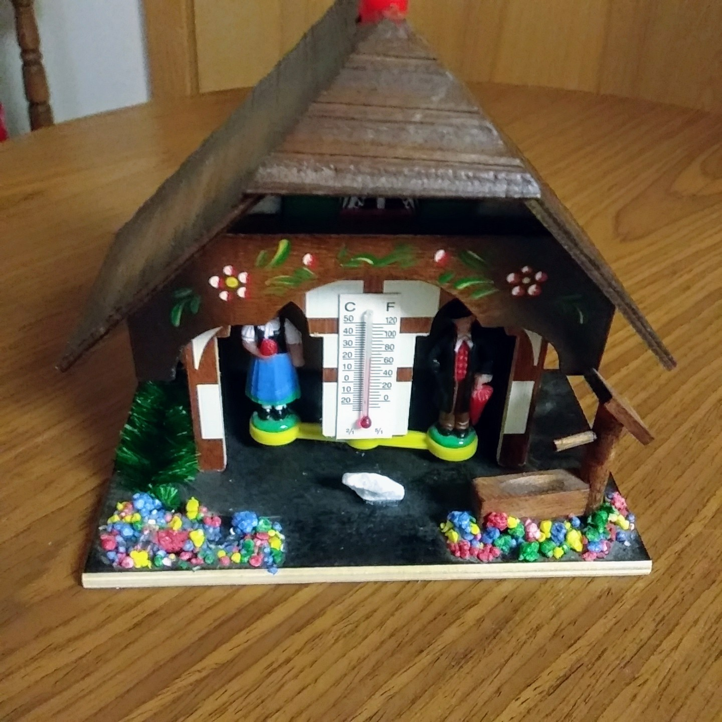 German Weather House with Black Forest Couple and Thermometer Hand Painted Flowe