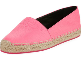 Burberry Hodgeson Logo Neon Leather Espadrille Flat Shoes 37 - $316.79