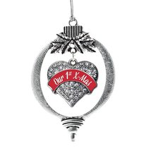 Inspired Silver Red Our First X-Mas Pave Heart Holiday Decoration Christmas Tree - $14.69