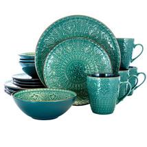 Elama Sea Foam Mozaic 16 Piece Luxurious Stoneware Dinnerware with Compl... - $94.64