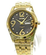 New citizen men's watch gold tone black dial day & date ,QR8594-38Q - £33.86 GBP