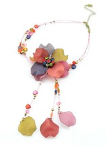 You and I Multi-Color Rhinestone Pink Purple Acrylic Flower Necklace Ear... - $24.74