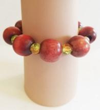 brown chunky wood and glass bead  bracelet, stretch hippie bracelet, han... - $2.99