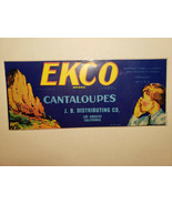 "Original EKCO Brand Cantaloupes Crate Label JB Dist Los Angeles 9.5""x4"" - $5.44"