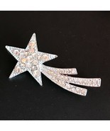 Estate Clear Rhinestone Encrusted Silvertone Shooting Star Pin Brooch – ... - $11.29