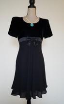 Elegant Night Gown Maggy London Petities Black Velvet w/ Front bow Dress... - $27.20
