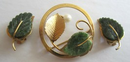 WELLS 14K GF Gold Filled Carved Green Jade and Pearl Brooch Pin Clip Earrings - $24.95
