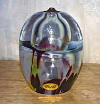 Poland Crystal Art Glass Oil Lamp No wick Included Inside Bubble Flaw - $8.00