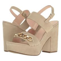 Kate Spade Rashida Beige Sand Kid Suede Chunky Ankle Strap Sandal Heels 9 NIB - $133.16