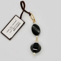Pendant Yellow Gold 18K 750 Onyx Black and Mini Pearls of Water Dolce image 3