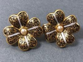 Damascene Gold Tone metal White Pearl faux Flower clip earrings - $19.80