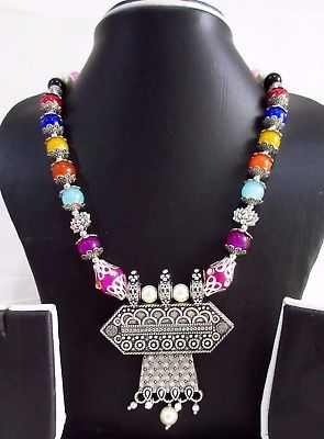 Indian Bollywood Pearls Necklace Oxidized Pendant Women's Fashion Jewelry