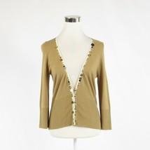 Goldenrod yellow ANTHROPOLOGIE MOTH sequin 3/4 sleeve cardigan sweater M - $19.99