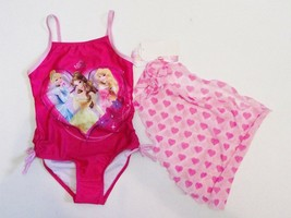 NWT Girls 4 5 Disney Princess Princesses Pink Swimsuit Swimwear Swim Cov... - $11.99