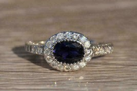 2Ct Oval Cut East West Blue Sapphire Halo Engagement Ring 14K White Gold... - $102.95