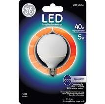 GE LED G16 40 Watt Light Bulb Frosted Globe Candelabra Base Dimmable 350 Lumens - $8.34