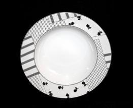 5 Studio Nova Evening Concerto Black Roses Stripes Dots Wide Rim Soup Bowls Nwot - $47.99