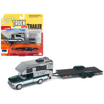 1993 Ford F-150 Metallic Green with Silver Camper and Chrome Open Car Tr... - $31.25