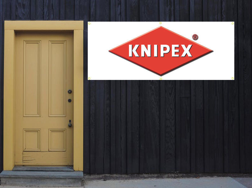 Knipex tools Vinyl Banner 2'x5' 13 OZ. Ready to Hang Garage Signs White
