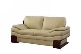 Global Furniture 728 Contemporary Beige Premium Leather Match Loveseat