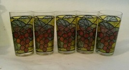 Vintage Stained Glass Grape Bunch & Leaves Hiball Cocktail Glasses Set of 5 - $36.82