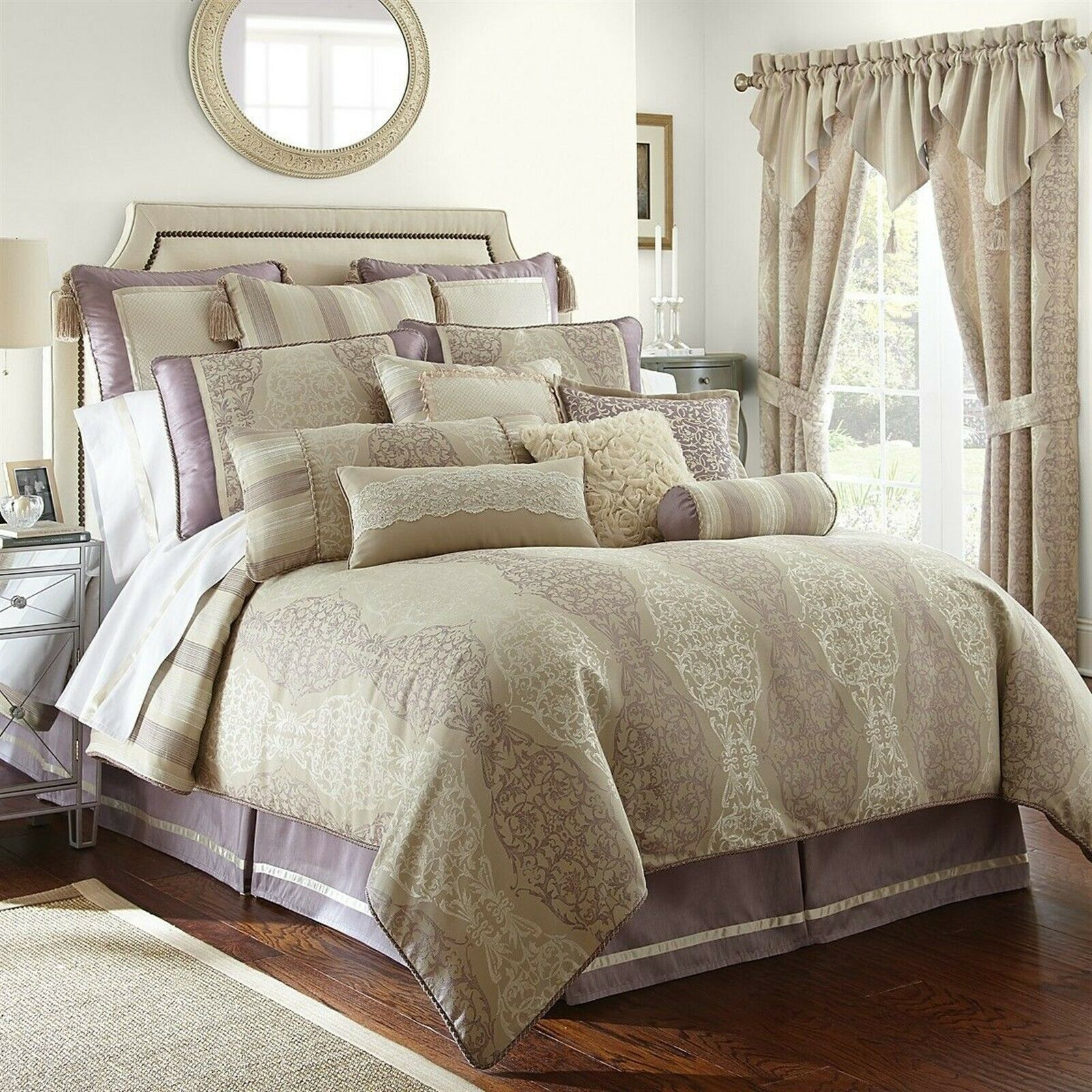 Waterford SIENNA 4P Queen Duvet Cover Shams Set Lilac Champagne - $252.15