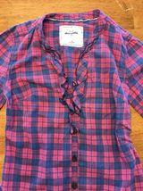 Abercrombie Kids Girl's Blue & Pink Plaid V-Neck Dress Shirt - Medium image 3