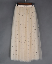 CHAMPAGNE Long Tulle Skirt Women Dotted Puffy Tulle Skirt Champagne Party Skirt image 3