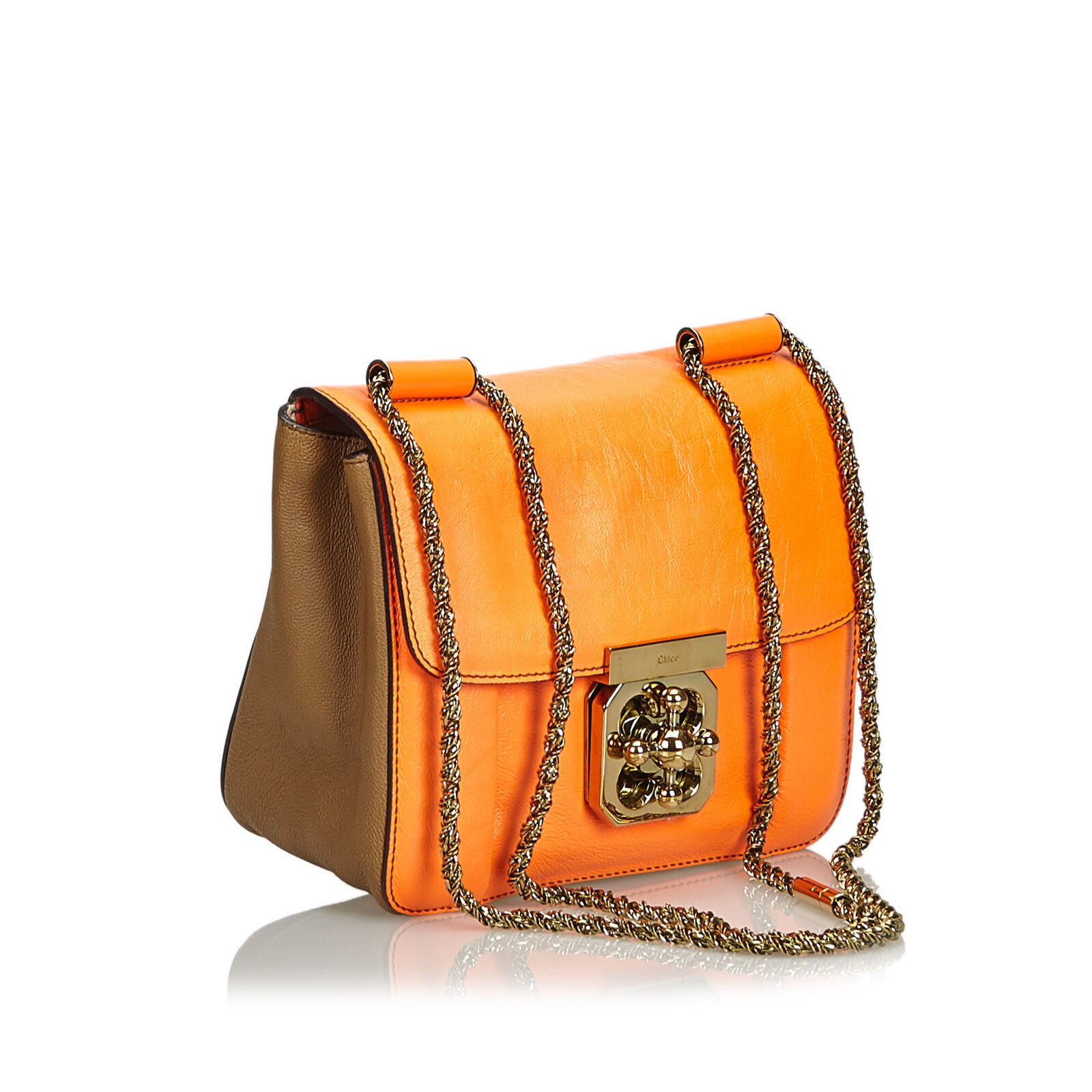 Authentic Chloe Orange Leather Elsie Crossbody Bag France