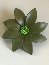 Estate Large Olive Green Leather Daisy Flower w Bright Green Cluster Cen... - $14.89