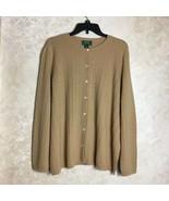LAUREN Ralph Lauren Size 2X Cardigan Sweater Cashmere Blend Beige Tan Brown - $58.80