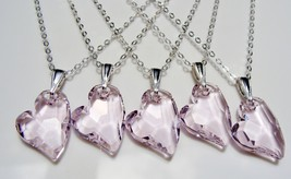 Swarovski Crystal Pink Heart Sterling Silver Necklace - $25.00
