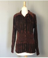 Bianca Brown Crinkle Velvet  Blouse Size Large  - $14.24