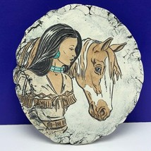 Shapes of Clay Native American woman horse signed art pottery ash mt st ... - $94.05