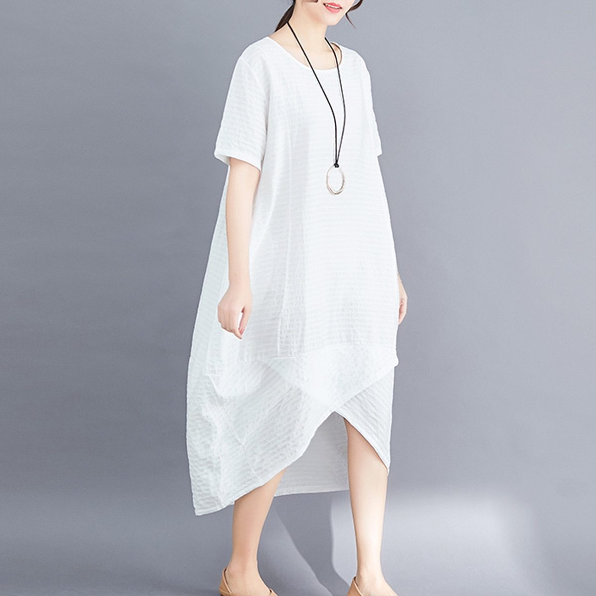 Maternity Dress O Neck Loose All Match Chic Breathable Mom Dress image 4