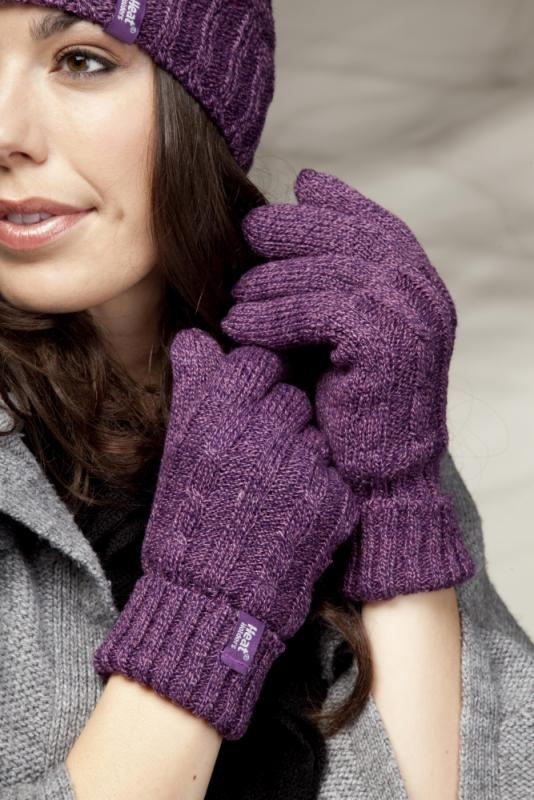 Heat Holders - Womens Warm Cable Knitted Insulated Thermal Winter Gloves 7 color