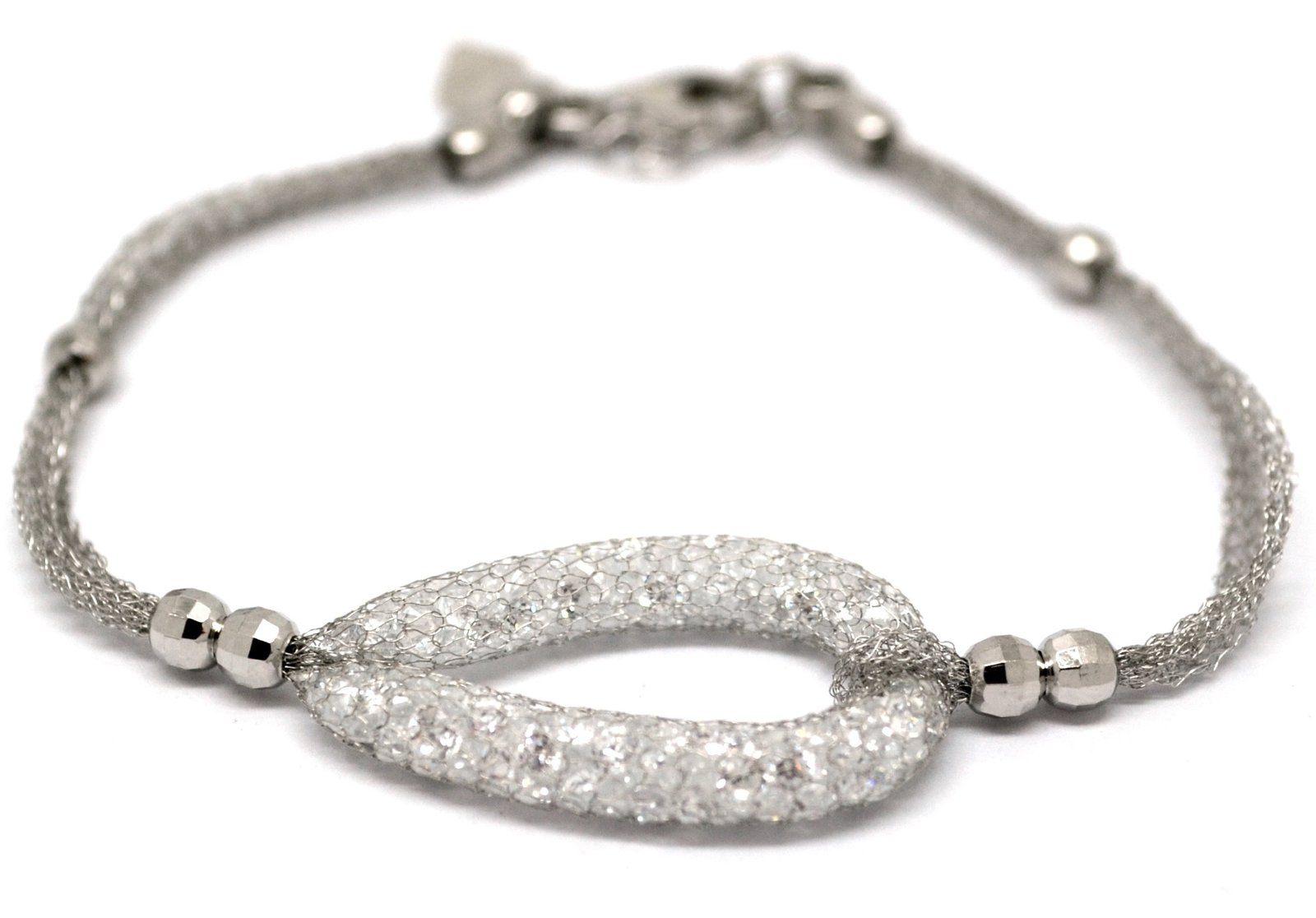 925 Sterling Silver Cubic Zirconia Mesh Center Bracelet