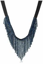 Saachi Marineblau Österreichischer Kristall Beads V-Schnitt Kragen Halskette Nwt