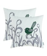 Throw Pillow Canvas Covers Cases Pack of 2 Bird and Floral 18 X 18 Inche... - $18.90 CAD