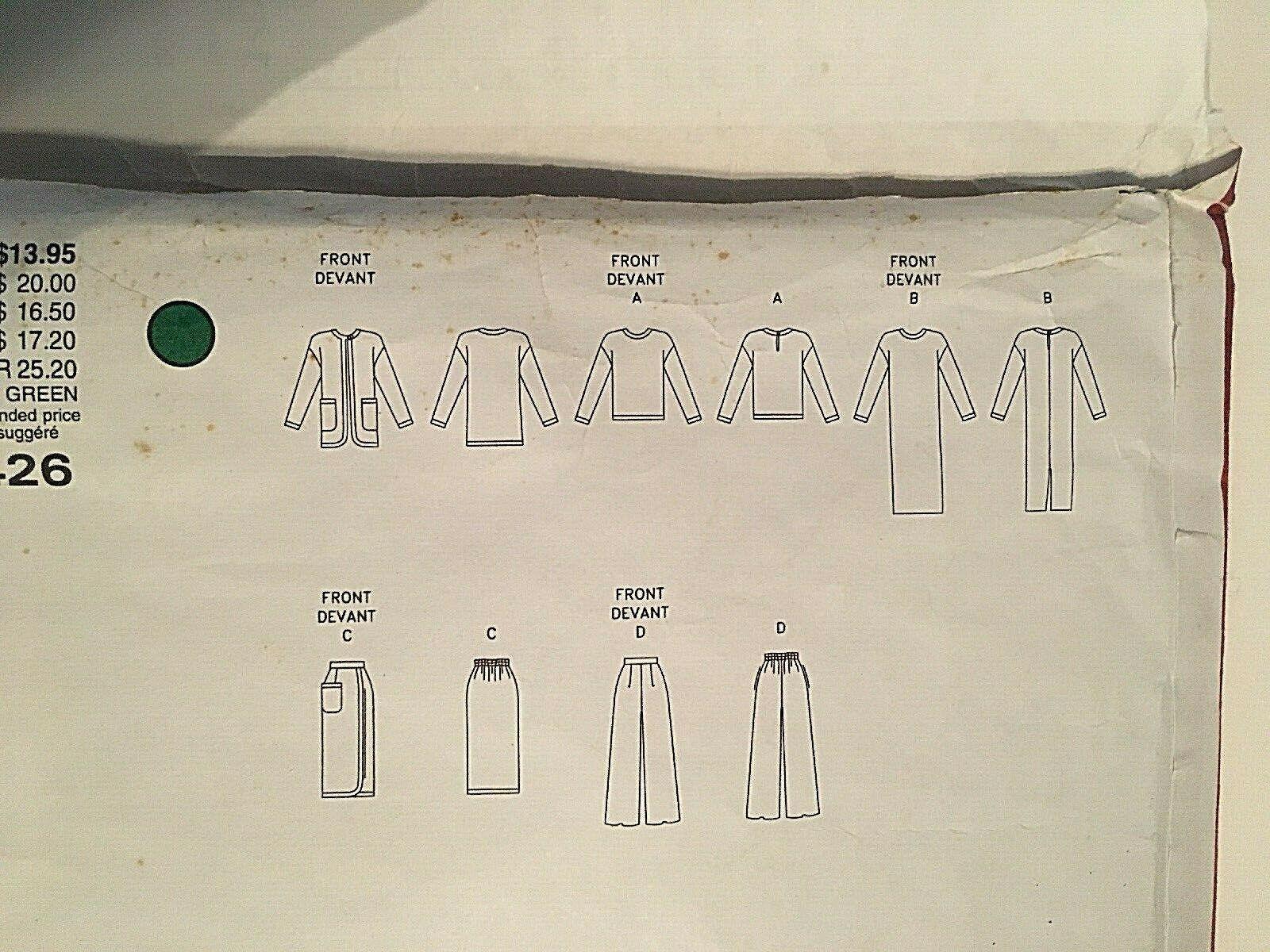 Vogue Sewing Pattern  # 1426 SZ 20-22-24 Dress, Top, Pants, Skirt. Jacket Uncut image 11