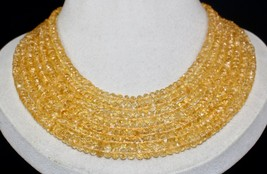 NATURAL YELLOW CITRINE FACETED ROUND BEADS 7 LINE 664 CARATS GEMSTONE NE... - $313.50