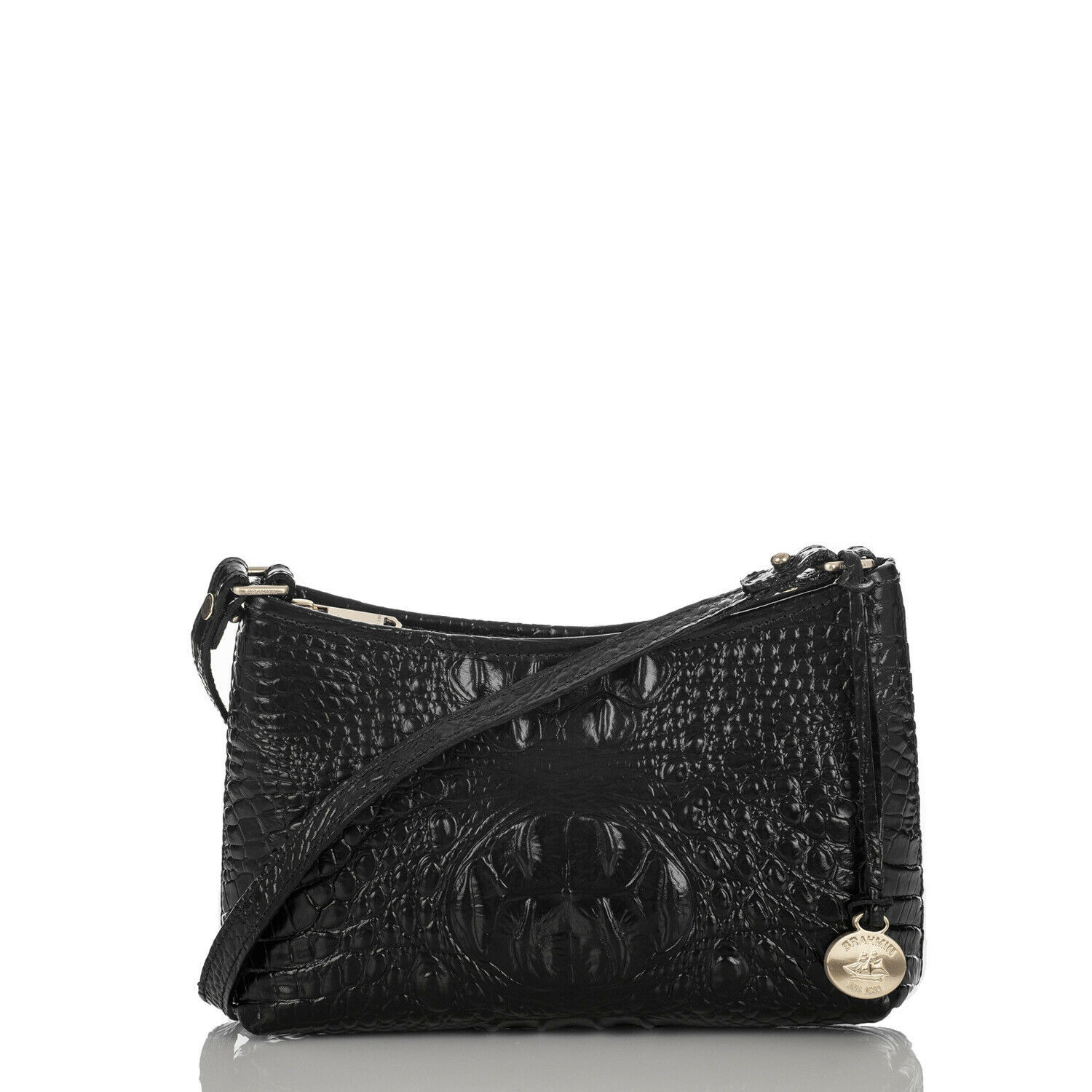 Primary image for NEW! Authentic! BRAHMIN Mini Anytime Shoulder Bag-Black Melbourne