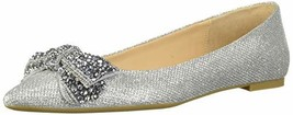 Jewel Badgley Mischka Women's ZANNA Shoe, silver fabric, 6 M US - $78.65