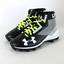 Under Armour High Top Cleats Youth Sz 2 Black White Green Laces Football Shoes - $24.99